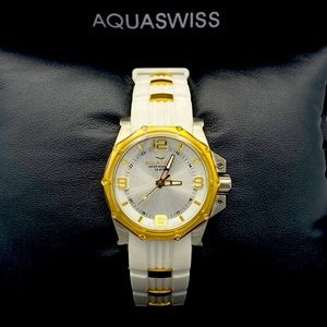 Aquswiss ladies white and gold watch